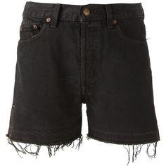 Levi's Vintage Clothing frayed denim shorts ($56) ❤ liked on Polyvore featuring shorts, black, bottoms, zipper shorts, frayed jean shorts, patch shorts, leather shorts and frayed shorts