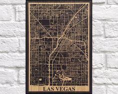 WOOD PRINT Wood map art, Rustic wood print, Las Vegas Nevada city map panel effect art print on wood, Rustic map of Las Vegas art print by Woodprintz on Etsy