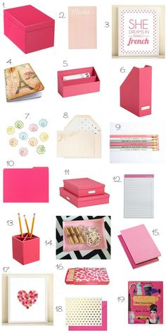 Office desk dressed in pink! | Home Organization Tips