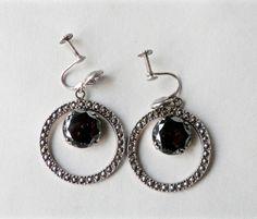Mod Earrings, Marcasite Hoops, UNCAS Sterling, Hematite, Hoop Earrings, Screwbacks, 1960s, Sterling Silver, Uncas Jewelry, Signed Vintage by TheJewelryChain on Etsy