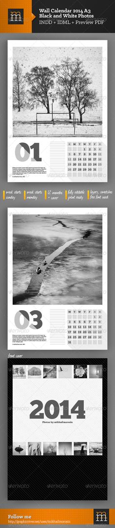 Wall Calendar Black and White Photos A3  #GraphicRiver        Features:   13 pages + c