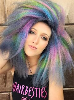 Pastel and Neon Hair Colors in Balayage and Ombre: Crimped Pastel Hair