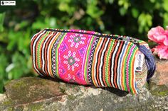 Tribal Fabric Pencil case Make Up Bag Flower Hmong on Etsy, $10.00