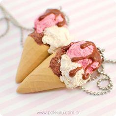 colar sorvete napolitano - polymer clay miniature sweets and fake food - pokkuru