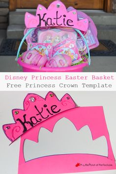 Disney Princess Personalized Easter Basket--Free Princess Crown Template to decorate basket or get creative with during craft time.   #DisneyEaster #CollectiveBias #ad