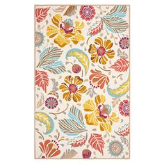 Bringvisual appeal to your den or define areas on the patio with this hand-hooked indoor/outdoor rug, showcasing a multicolor floral motif.