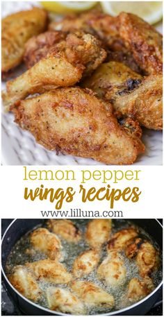 Crispy lemon pepper chicken wings to make for dinner tonight! These wings are not only simple but are fried to perfection and packed full of juicy lemon and butter flavor. chicken recipes for dinner Turkey Recipes, Chicken Recipes, Recipe Chicken, Lemon Pepper Chicken Wings Recipe Oven, Hot Wings Recipe Fried, Lemon Peper Wings, Chicken Drummettes Recipes, Baked Lemon Pepper Wings, Chicken Wing Flavors