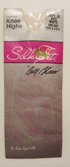2416929fb6a6a6 Silky Fit White Knee Highs Socks Spandex Pantyhose USA Made Bill Blass  Hosiery | eBay