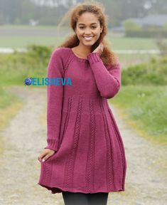 Knitted dress with a beautiful pattern of Raglan and braids spokes   Blog elisheva.ru