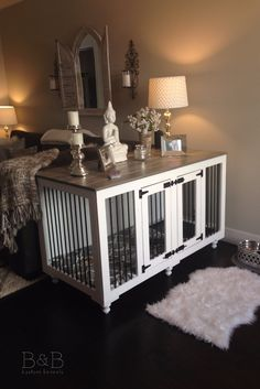 One of our favorite places we've seen a Farmhouse Style Doggie Den!