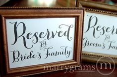 Reserved for Bride or Groom's Family Sign Table Card - Wedding Reception Seating Signage (Set of 2) Matching Table Numbers Available SS02 on Etsy, $8.00