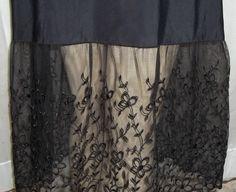 Vintage Black Nylon Lots of Lace Bust Hem Full Slip 36 by ShonnasVintage, $99.99