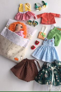 gifts for cats Handmade fabric doll with clothes. Rag doll with red hair. Small doll with additional clothes includes: ten inch heirloom doll and clothin Fabric Doll Pattern, Doll Patterns, Tiny Dolls, Soft Dolls, Fabric Toys, Paper Toys, Sewing Dolls, Handmade Toys, Handmade Rag Dolls