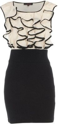 Cream/Black Ruffle Dress; cocktail