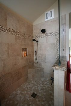 AWESOME WALK IN SHOWER IDEAS | Traditional Bathroom Walk-in Showers Design Ideas, ... | bathrooms