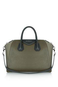 GIVENCHY Medium 'Antigona' bag in color-block Olive green leather  Product measures: Length 28cm / Width 17cm / Height 24cm / Handle Drop 16cm / Shoulder Strap 58cm