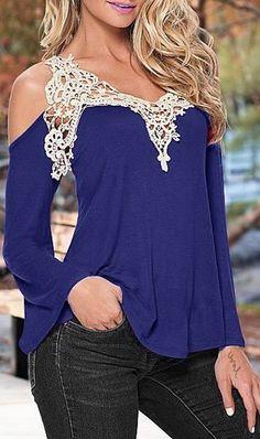 Sweet V-Neck Laced Long Sleeve T-Shirt