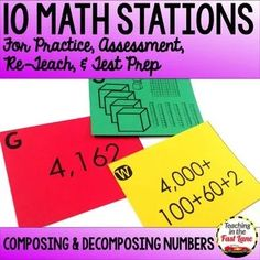 Composing and Decomposing Numbers Test Prep Math Stations Math Stations, Math Centers, Math Test Games, Numbers Station, Division, Numbers Kindergarten, Teaching Strategies, Teaching Resources, Decomposing Numbers