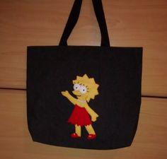 Sacola de brim Lisa Simpson www.elo7.com.br/1bdbab/loja