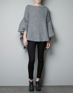 PONCHO SWEATER with rhinestones - Point - Woman - ZARA Spain