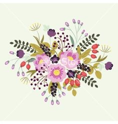 Flowers floral composition on a white background vector by Lyusya on VectorStock®