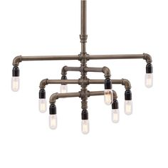Nothing says industrial chic quite like these rustic iron pipes. With nine Edison light bulbs, this vintage-inspired centerpiece is sure to add drama to any room.  Find the Industrial Pipe Chandelier, as seen in the Beautifully Deconstructed Collection at http://dotandbo.com/collections/beautifully-deconstructed?utm_source=pinterest&utm_medium=organic&db_sku=ZUO0361