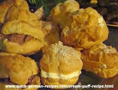 Cream Puffs -- easy enough for little kids to help you. http://www.quick-german-recipes.com/cream-puff-recipe.html