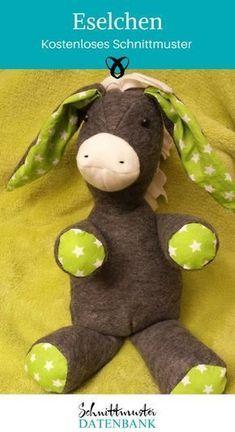 Plüsch-Esel Kuscheltier Esel Geschenke für Kinder kostenloses Schnittmuster Gratis-Nähanleitung