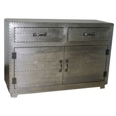 Idea: face chest of drawers with aluminum flashing and rivets