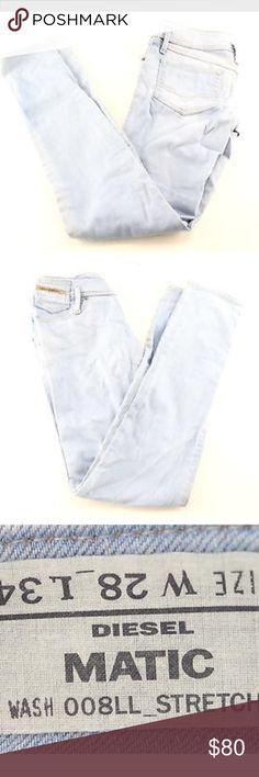 AUTH DIESEL BRAND Matic Light Wash Skinny Jeans 28 AUTH DIESEL BRAND Matic Wash 008LL Stretch Light Blue Skinny Jeans WMNS SZ 28 $260 Diesel Jeans Skinny