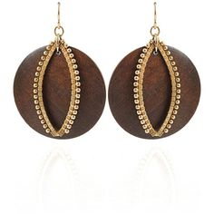 Leva Round Wood Earrings with Marquis ($485) ❤ liked on Polyvore featuring jewelry, earrings, accessories, jewels, boho jewelry, boho earrings, round earrings, wooden earrings and bohemian style jewelry