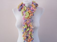 Hand crochet Long Scarf yellow pink lilac orange by scarfnurlu Neck Accessories, Winter Accessories, Pompom Scarf, Lilac, Pink, Long Scarf, Orange, Yellow