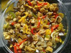 Receita de Antepasto de berinjela Sauce Creme, Good Food, Yummy Food, Kung Pao Chicken, Pasta Salad, Carne, Diet Recipes, Appetizers, Favorite Recipes