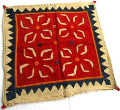 Folk art textile in applique, antique embroidery, vintage wall hanging # 40 on Etsy, $225.00