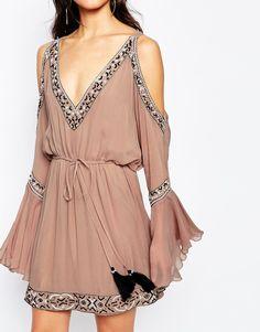 Image 3 ofWhite Sand Silk Embellished Plunge Front Mini Dress With Cold Shoulder