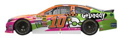 Don't know WTF this #10GODADDY.COM paint scheme is about fer Danica Patrick,but her SHR Chevy is fast,too fast fer her@times,but getting better.But you WILL SEE her coming&going!!