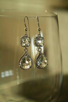 Wedding Earrings  Gorgeous Crystal Clear Drop Bridal Earrings on Silver.  Wedding, bridal, bridesmaid. $32.00, via Etsy.