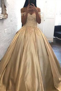 Ball Gown Prom Dresses Off-the-shoulder Appliques Satin Prom Dress/Evening Dress from Amy Diy Dresses lange kleider für mädchen Gold Prom Dresses, Elegant Prom Dresses, Cheap Prom Dresses, Satin Dresses, Dress Prom, Gold Quinceanera Dresses, Party Dresses, Quince Dresses, Formal Dresses