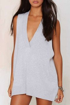 Stylish Plunging Neck Solid Color Sweater Vest For Women