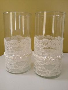 Lace and Pearl Wrapped Votive Holders (Victorian, Shabby Chic Feel) set of two. $45.00, via Etsy. by maria9735