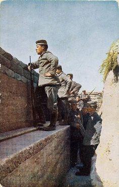 soldaten poseren op betonnen bank
