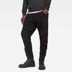 @ G-Star Raw Motac-X Deconstructed Loose Cropped Black Jeans. Distressed Black Jeans, Dark Blue Jeans, Loose Jeans, Cropped Jeans, Jean Large, Cyberpunk Clothes, Deconstruction, G Star Raw, Shades Of Black