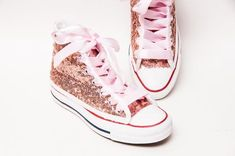 5153686d4af1 Sequin - Rose Gold Canvas Customized Converse® Canvas Hi Top Sneakers  Tennis Shoes with Satin Ribbon Shoelaces by Princess Pumps
