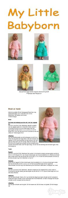 Free knitting patterns for doll clothes (in Dutch)