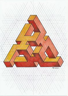 ImpossibleImpossible on Behance. Illusion Drawings, Illusion Art, Op Art, Geometric Designs, Geometric Shapes, Escher Art, Impossible Shapes, Isometric Drawing, Graph Paper Art