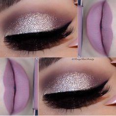 Gorgeous silver eye makeup with a soft purple lip from @romyglambeauty