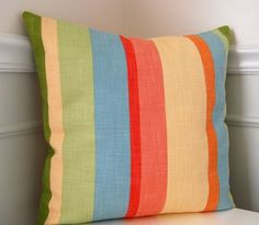 Striped Pillow Cover, Decorative Pillow Cover, Green, Blue, Yellow Stripes, 16x16 Throw Pillow, Cushion Cover, Cushion on Etsy, $25.00