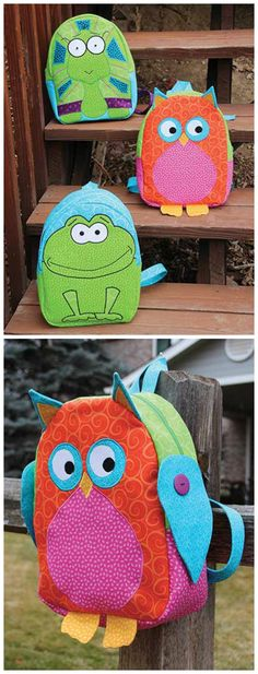 Sewing pattern for 3 different kids backpacks - owl, frog and turtle.  Fully lined with 3 pockets inside.  I loved sewing these and the kids love using them.  Recommended kids backpack sewing pattern.
