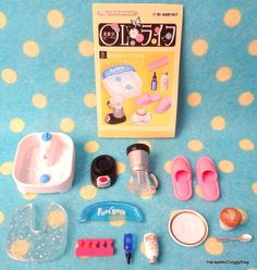 Re-ment / Rement : Japanese Dollhouse Toys : OL Life #8 - Miniature Foot Bath / Pink Slippers / Blender / Coffee / Toe Separator / Aromatherapy Oil