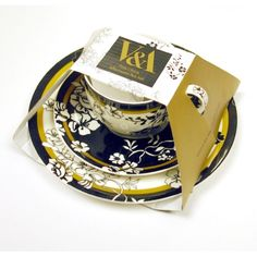 V & A Brocade - Fine China Cup, Saucer & Side Plate - Afternoon Gift Set